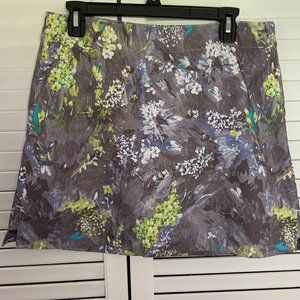 Lady Hagen Grey Floral Skort with pockets SZ 8